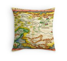 1574 Ruscelli Map of Russia (Muscovy) and Ukraine Geographicus Moschovia porcacchi 1572 Throw Pillow