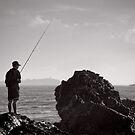 Fishing on the Rocks - Korora - NSW - Australia by Norman Repacholi