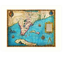 1591 De Bry and Le Moyne Map of Florida and Cuba Geographicus Florida debry 1591 Art Print