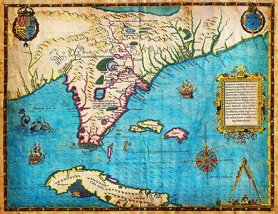 1591 De Bry and Le Moyne Map of Florida and Cuba Geographicus Florida debry 1591 by MotionAge Media