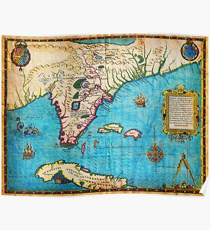 1591 De Bry and Le Moyne Map of Florida and Cuba Geographicus Florida debry 1591 Poster