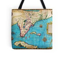1591 De Bry and Le Moyne Map of Florida and Cuba Geographicus Florida debry 1591 Tote Bag