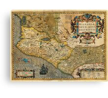 1606 Hondius_and Mercator Map of Mexico Geographicus HispaniaeNovaMexico mercator 1606 Canvas Print