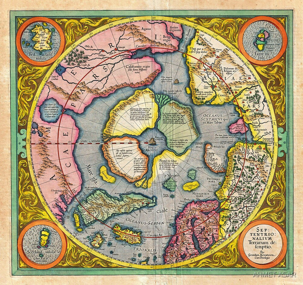 1606 Mercator Hondius Map of the Arctic First Map of the North Pole Geographicus NorthPole mercator 1606 by MotionAge Media