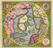 1606 Mercator Hondius Map of the Arctic First Map of the North Pole Geographicus NorthPole mercator 1606 by Adam Asar