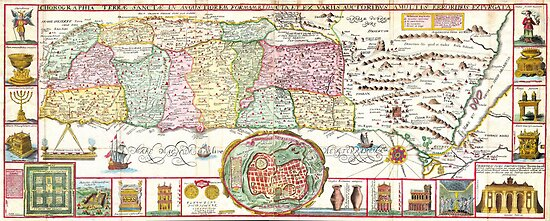 1632 Tirinus Map of the Holy Land Israel w numerous insetsGeographicus HolyLand tirinus 1632 by Adam Asar