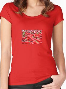 Market Fresh Red Chili Peppers Women's Fitted Scoop T-Shirt