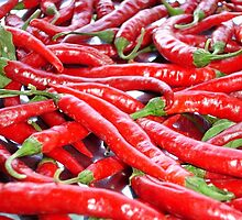 Market Fresh Red Chili Peppers by taiche