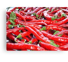 Market Fresh Red Chili Peppers Canvas Print