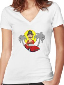 Magnum PI Women's Fitted V-Neck T-Shirt