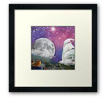 Meditation Moon Star and Flying Ship  Framed Print