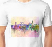 Glasgow skyline in watercolor background Unisex T-Shirt