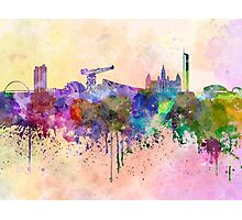 Glasgow skyline in watercolor background Photographic Print