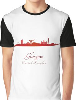 Glasgow skyline in red Graphic T-Shirt