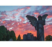 Angel at Sunset Harlow Hill Cemetery  Photographic Print