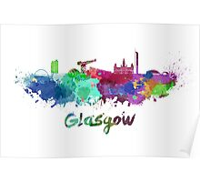 Glasgow skyline in watercolor Poster