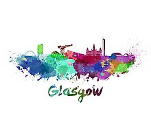 Glasgow skyline in watercolor Photographic Print