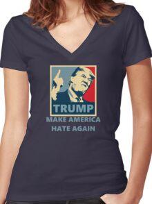 TRUMP '16 - Make America Hate again Women's Fitted V-Neck T-Shirt