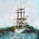 Coast Guard Cutter Eagle vintage grunge style iPad iPhone cover by Mariannne Campolongo