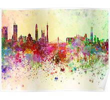 Guangzhou skyline in watercolor background Poster