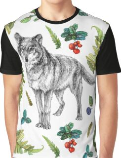 Wolf with fern and berries Graphic T-Shirt
