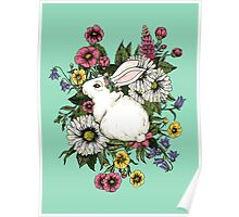 Rabbit in Flowers Poster