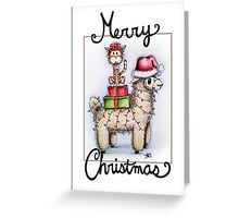 Merry Xmas from Alpaca and Cat Greeting Card