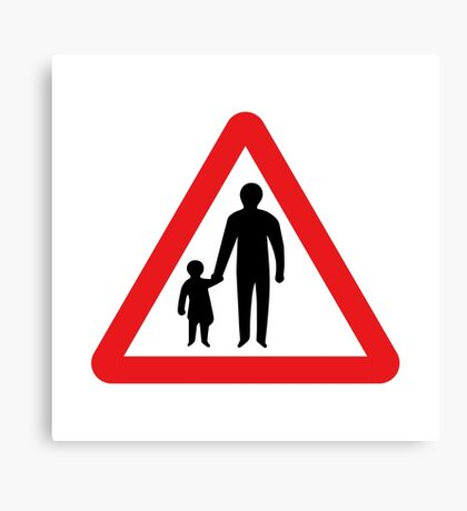 Pedestrians In Road Ahead, Sign, UK  Canvas Print