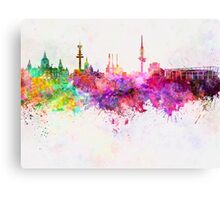 Hannover skyline in watercolor background Canvas Print