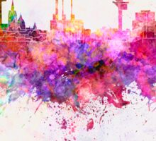 Hannover skyline in watercolor background Sticker