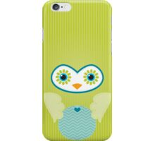 IPhone :: cute owl face - lime green iPhone Case/Skin