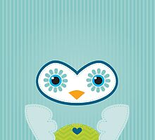 IPhone :: cute owl face - mint green by Kat Massard