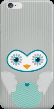 IPhone :: cute owl face - silver grey by Kat Massard