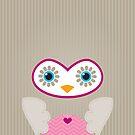 IPhone :: cute owl face - brown / pink by Kat Massard