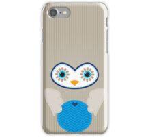 IPhone :: cute owl face - brown / blue iPhone Case/Skin