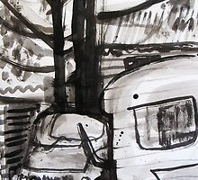 car tree and caravan by donnamalone
