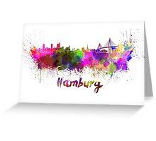 Hamburg skyline in watercolor Greeting Card
