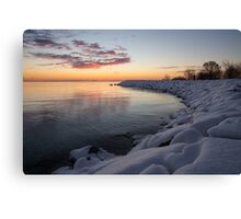 Small Cove Pink and Snowy Dawn Canvas Print