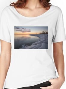 Small Cove Pink and Snowy Dawn Women's Relaxed Fit T-Shirt