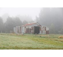 Old barn in the mist Photographic Print
