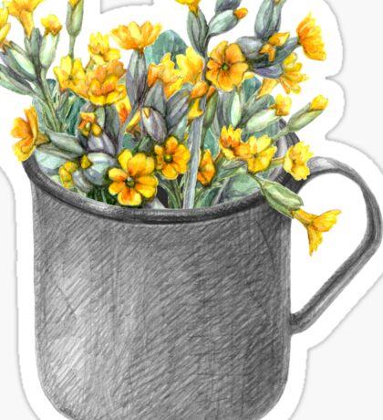Mug with primulas Sticker