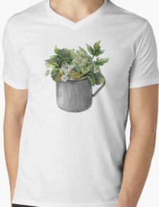 Mug with green forest growth Mens V-Neck T-Shirt