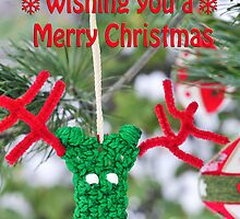 Funny adorable reindeer ornament Christmas Card by Marianne Campolongo