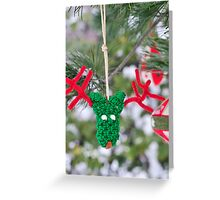 Funny adorable reindeer ornament Christmas Card Greeting Card