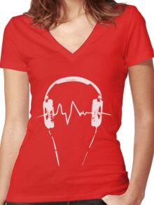 Headphones Frequency Girls funny nerd geek geeky Women's Fitted V-Neck T-Shirt