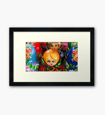 Blond Haired-Blue Eyed Matryoshka Doll Framed Print