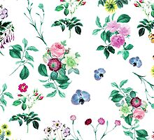 Roses, Moth Orchids, Lilies - Green Pink Blue  by sitnica