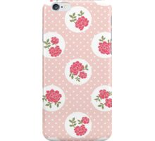 Shabby Chic, Polka Dots, Roses - Pink Red Green  iPhone Case/Skin
