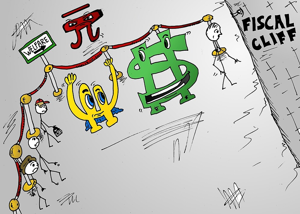 Fiscal cliff Bucky Euroman caricature by Binary-Options