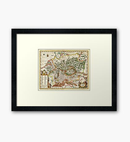 1657 Jansson Map of Germany Germania Geographicus Germaniae jansson 1657 Framed Print